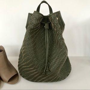 Deux Lux Olive Green Weaved Backpack
