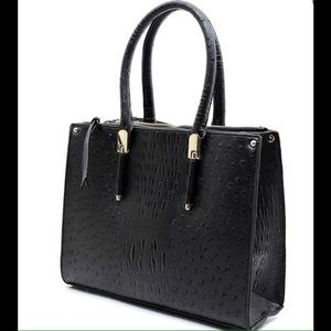 Handbags - Black Ostrich Print Box Satchel