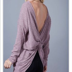 Tops - Mauve Back Twist Long Sleeve
