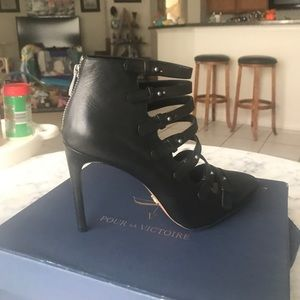 Pour la Victore multi buckle leather heels