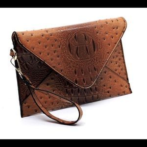 Handbags - Cognac Ostrich Clutch Handbag