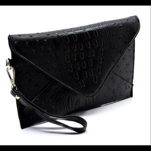 Handbags - Black Ostrich Clutch Handbag