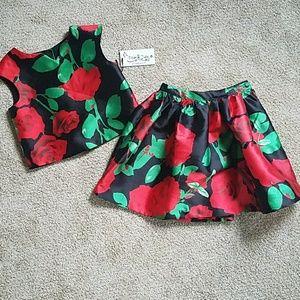 Pippa & julie Hailey Red Rose Skirt Set