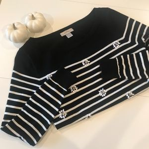 LOFT Black and White Striped Sweater