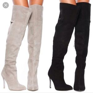 Heeled Gray suede over the knee boots
