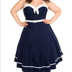 Pinup Couture Navy Sailor Swing Dress Size XL