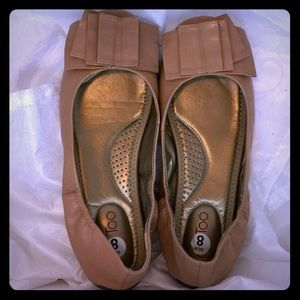 Me Too genuine leather nude ballet flats