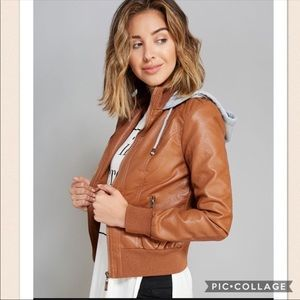 B. Sweet Cognac Hooded Bomber Jacket Faux Leather