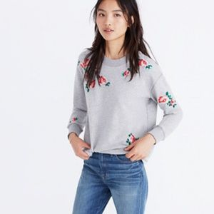 Madewell Embroidered Cutoff Sweatshirt