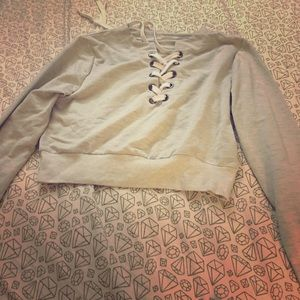 Lace up crop sweater