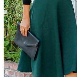 H & M a line forest green skirt, uneven hemline