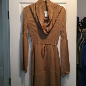 Tan sweater cowl neck dress EUC
