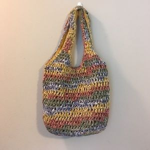Woven Knit Braided Boho Tote Satchel Hangbag