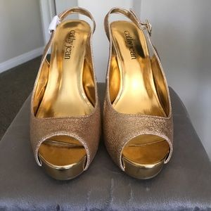 New Gold Glitter Stilettos 7 Cathy Jean
