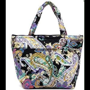 Handbags - Black Paisley Print Quilted Tote