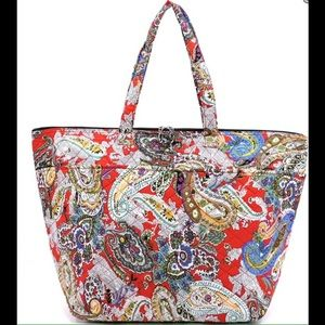 Handbags - XL - Red Paisley Weekender Tote