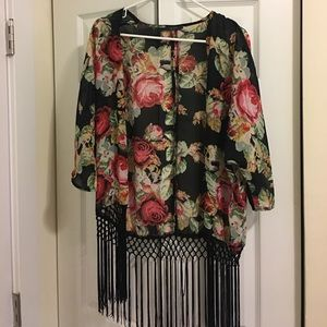 Beautiful Kimono with flower detail and tassels