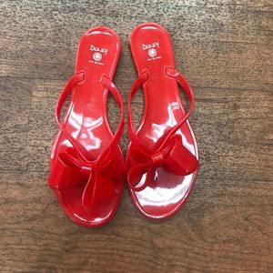 🆕LISTING Red Bow Tie Jelly Flats