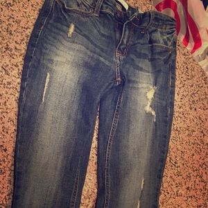 Denim - Slightly distressed skinny jeans