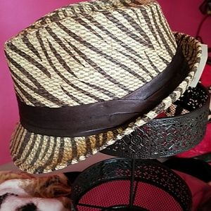 Accessories - Tan with dark brown zebra print fedora
