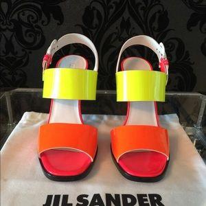 JIL SANDER Neon Patent leather sandal US6