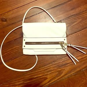 White faux leather crossbody