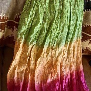 Silk long skirt multicolor, preowned