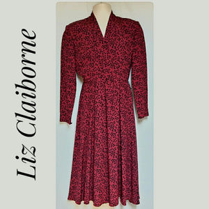 Classic Liz Claiborne Career Dress Red/Black Sze 4