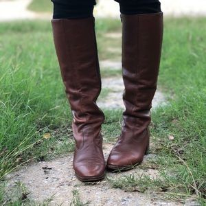 Vintage 1970's cowhide leather tall boots