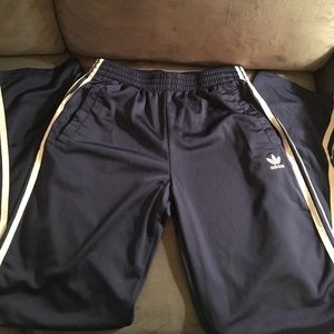 ADIDAS Blue Track Pants with White Stripe