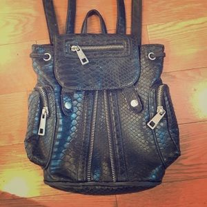 Black leather punk mini backpack