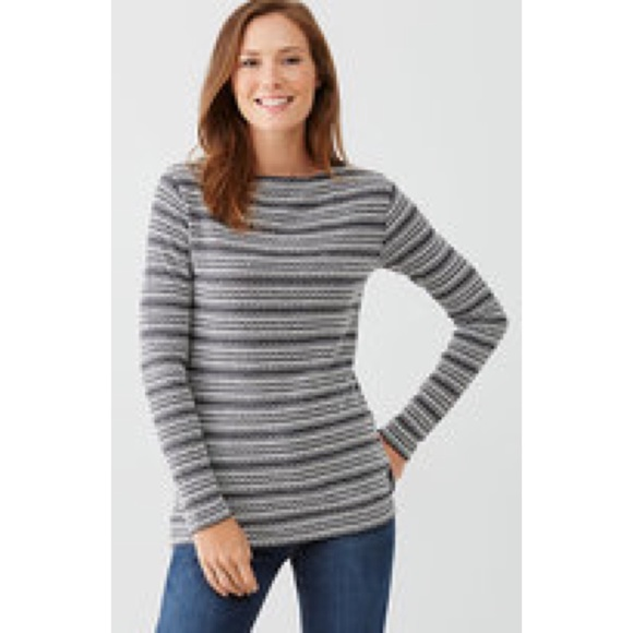 4af1a93c4652 J. Jill Small Knit Striped Textured Boat Neck Top