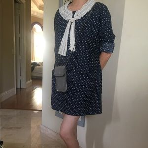 Navy blue with white pint dress