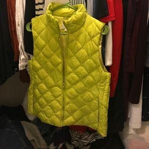 LOFT lime green puffer vest.