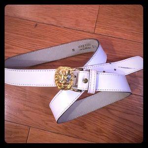 VINTAGE white leather gold lion head belt