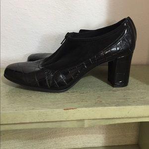 Vintage Franco Sarto Vegan Black Chunky Heels