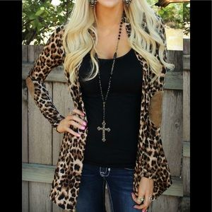 Sweaters - Leopard elbow patch cardigan
