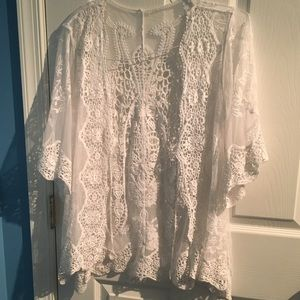 Sweaters - White lace cardigan