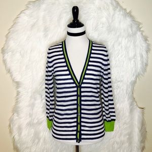 J.Crew Navy White Neon Green Trim Cardigan