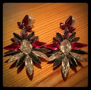 Swarovski red, white and grey sunburst earrings