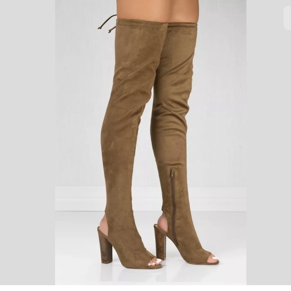 2a22d40a916 Liliana Shoes - Faux Suede Open Toe Over the Knee Boots