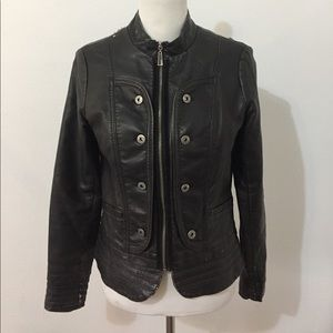 Vintage Weathered Zenim Vegan Leather Jacket