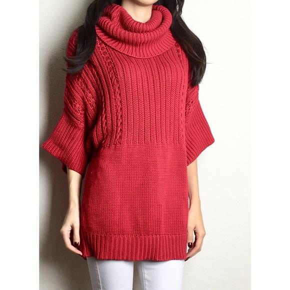 17374b58a71 Tahari red cable knit cowl neck sweater dress. M 5a091a12ea3f36174615546b