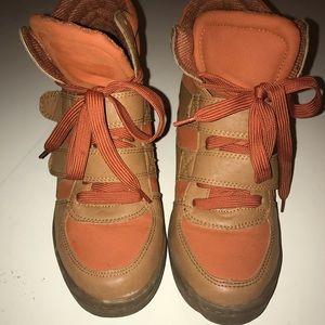Orange and tan Sneaker Wedges