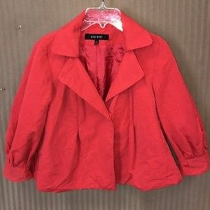 Nine West red cropped blazer jacket