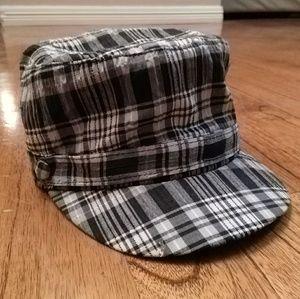 Black Gray White Plaid Fashion Button Cadet Hat