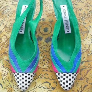 Vintage Art Deco Color Blocked Kitten Heels Pumps