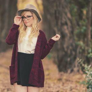 Sweaters - Burgundy Chunky Cardigan