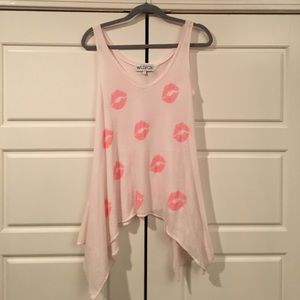 New Wildfox Blush pink Lip tank top small
