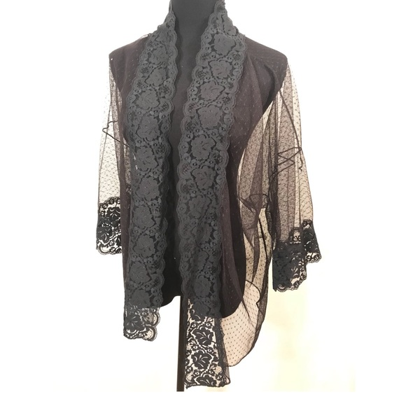 Vintage Jackets & Blazers - Vintage black lace night jacket